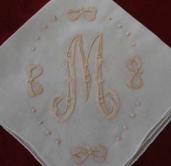 Vintage Madeira Wedding Hanky Monogram M Applique Embroidery Bows Bridal