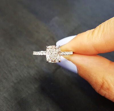 1.50 Ct Cushion Cut Diamond w/ Round Cut Accents Engagement Ring F  VS1 GIA 14KW 2