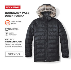 Brand New Eddie Bauer Men Boundary Pass Parka Black Size Medium