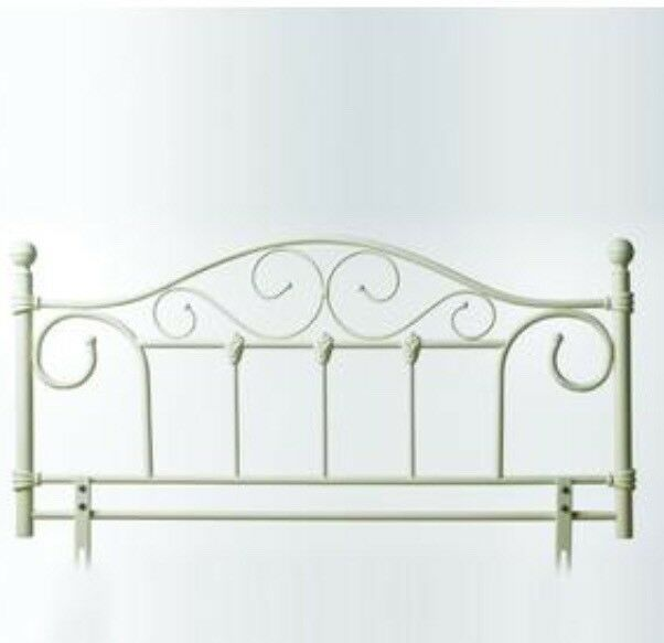 King size metal bed frame (cream)
