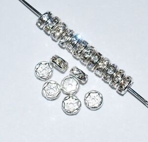 100 Rhinestone Rondelles Spacer Beads Crystal (F) 5, 6, 8,  or 10mm In USA - CRF