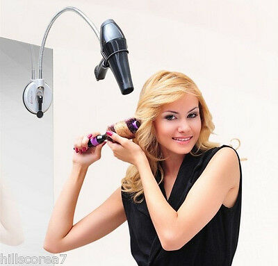 Hair Dryer Holder Adjustable Hands Free Stand Flexible Neck Bathroom Mirrow