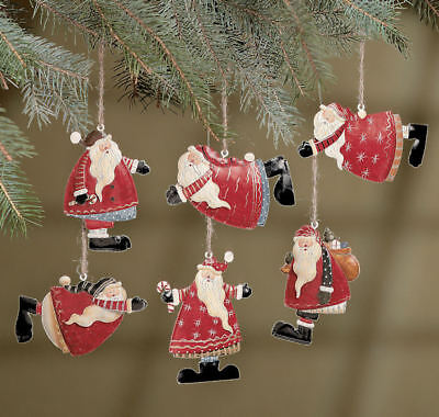 12  SANTA Metal Christmas Tree Ornaments Rustic Old Fashioned - Old Fashioned Christmas Ornaments
