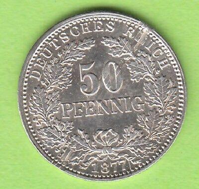 Kaiserreich 50 Pfennig 1877 H Jaeger 8 toll erhalten selten nswleipzig
