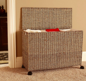 Wicker Laundry Hamper - 3 separate sections