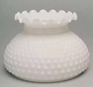 Lamp Shade Milk Glass Hobnail Student 7