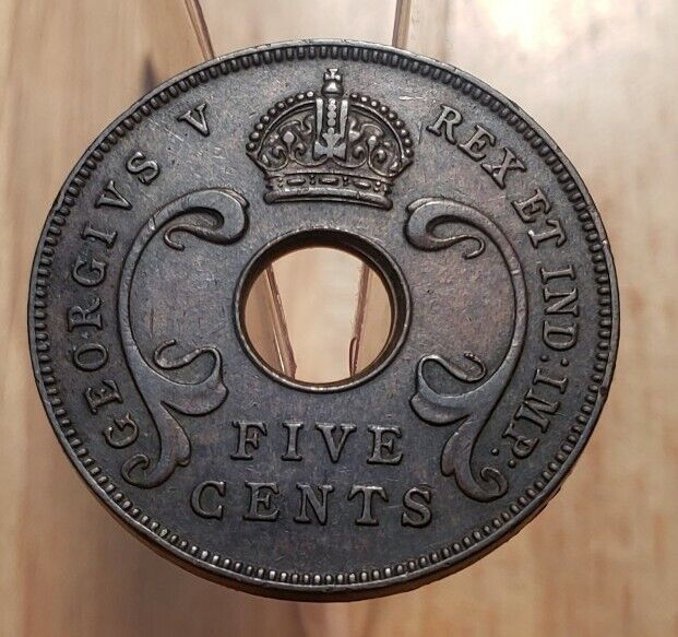1934 British East Africa 5 cents World Copper Coin