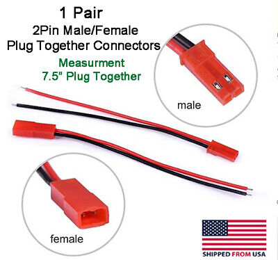 5 Sets JST 2.54  2-Pin Connector plug Female /& Male with Wires Cables GD