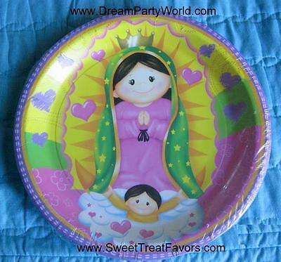Virgencita Guadalupe Party Baptism Favor Birthday Cake Plates X12 Lupita Fiesta