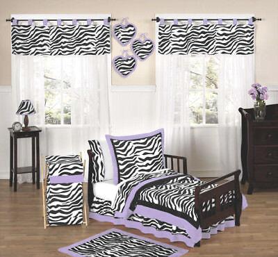 Jojo Lavender Purple Black White Zebra Print Girl Toddler Kids Bedding Sheet Set ()