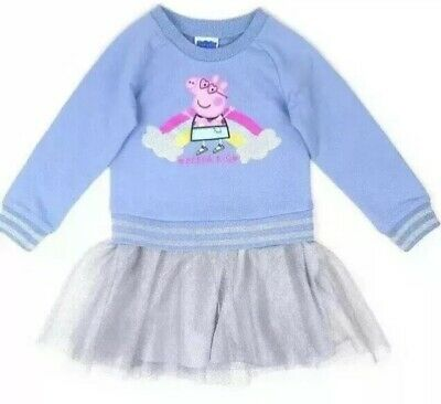 Peppa Pig French (Toddler Girls Peppa Pig Dress Blue French Terry Top Silver Tulle Skirt Dress)