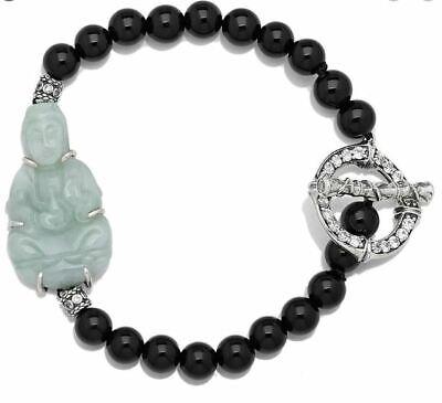 Jade of Yesteryear Green jade, Black Onyx & CZ Buddha Toggle Bracelet Small/Med