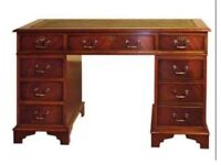 Mahogany pedestal desk antique with key