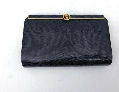 RARE Vintage Small Navy Gucci Lizard + Gold Metal Leather Hard Frame Clutch
