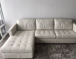 Like NEW - Mobilia White Leather Sectional