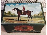 Antique Victorian hand painted toy chest trunk