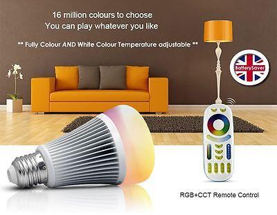 MiLight RGB-DW LED Light Bulb (inc Remote Control) - E27 Screw Base (FUT015)