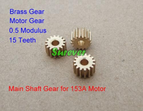 Main Shaft Metal Brass Gear Motor Gear 15 Teeth 0.5 Modulus 3mm Shaft Toy Parts