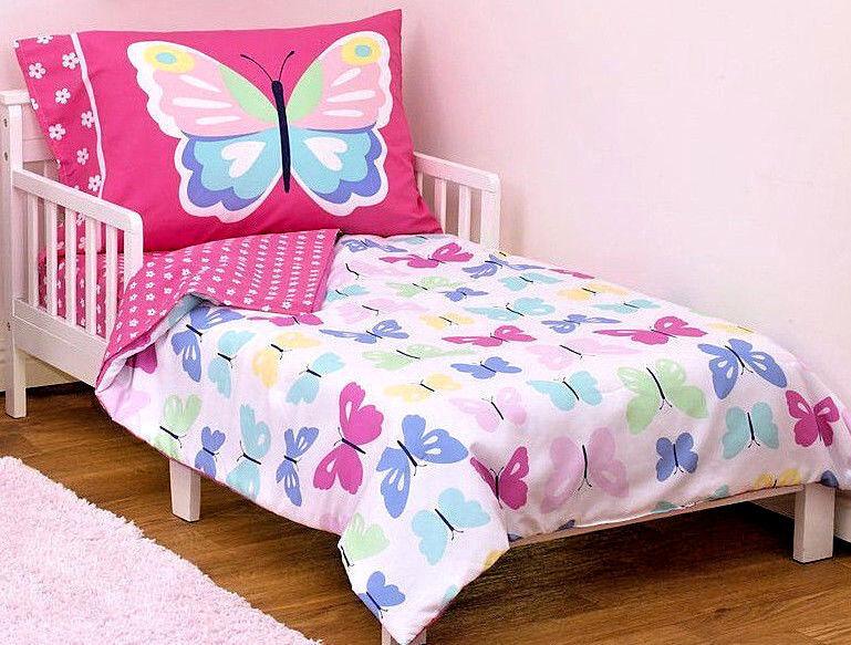 Carter's Butterflies 4 Piece Toddler Bedding Set - Bright Pi