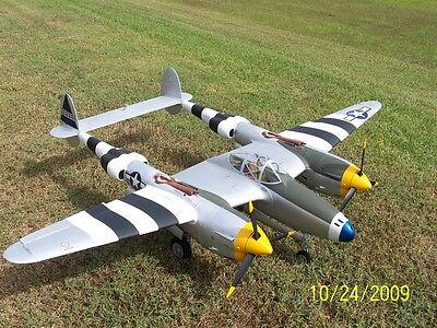 1/8 Scale Lockheed P-38 LIGHTNING scratch build R/c Plane Plans & Instr 74 in.WS