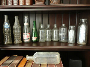 One Lot Of 11 Vintage Soda, Milk and Medicine Bottles