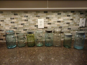 Lot of 4 Sealer / Canner/ Fruit Jars - Lovely Colours some rare