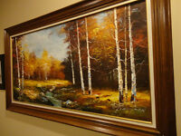 Set of Two Matching Vintage Forest & Brook Oil Paintings 1970's