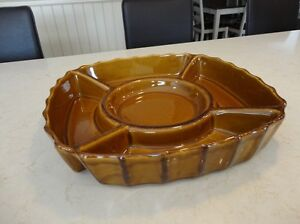 Decorative Brown Stoneware Vegetable/Fruit Tray -excellent Shape