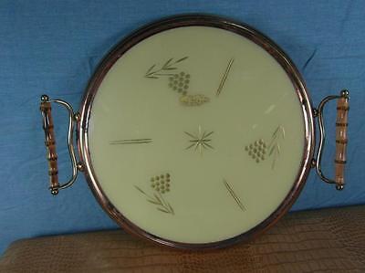 Tablett Kuchenplatte Servierplatte Antik Stil Kupfer Messing Glas Edel o12c2