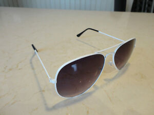 Aviator Sunglasses - White Frame w/ Black Lens - BRAND NEW