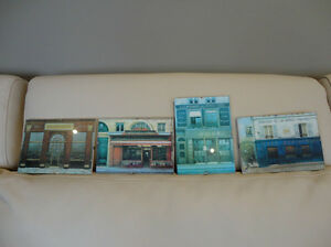 "Set of Three4x6"" Glass Enclosed Pictures for Bath or Powder Room"