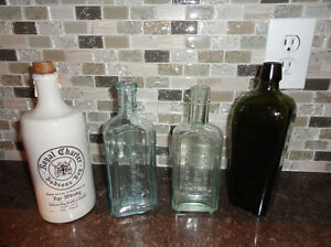 Lot of 4 Antique Bottles- Medicine, Gin and Rye Bottles