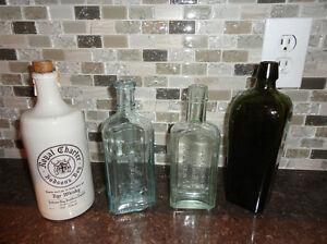 Lot of 4 Antique Bottles- Medicine, Gin and Rye Bottles Kitchener / Waterloo Kitchener Area image 1