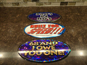 """3 Metallized 7.5"""" Oval Peel and Stick Cool Stickers -3 for $3.25"""