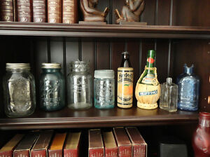 One Lot of 8 Collectible Bottles -Canning Jars, Medicine &Misc.