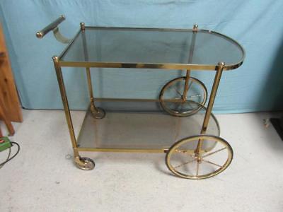 Teewagen Servierwagen Antik Stil Messing Rauchglas Bar Beistelltisch Glas ow1