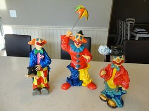 "Selling Three Paper Mache Hand made in Mexico 12"" Tall Clowns"