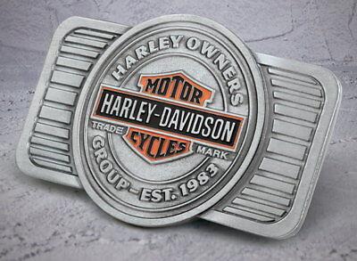 HOG HARLEY DAVIDSON OWNERS GROUP BELT BUCKLE MADE IN USA FREE STORAGE BAG