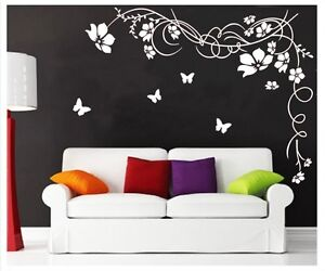 Large-Butterfly-Vine-Flower-Mural-Art-Wall-Stickers-Vinyl-Decal-Home-Room-Decor