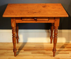 Nova Scotia Pine Table with Drawer, c. Early 1900's