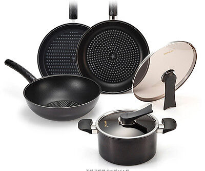 HAPPYCALL Black Edition Diamond Coating Frying Pan Set 6pc - Free EMS