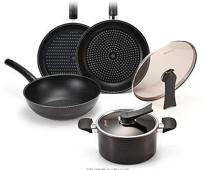 HAPPYCALL Black Edition Diamond Coating Frying Pan Set 6pc - Free EMS
