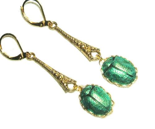 Earrings EGYPTIAN REVIVAL SCARAB Metallic Green Beetle Art Deco Gold Pltd Drops