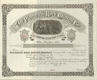 Plymouth Rock Mining Company > 1800s Massachusetts mine stock certificate share