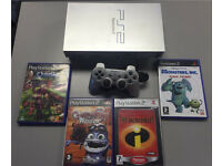 Sony PlayStation 2 ps2 silver with 4 games