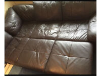 Faux leather brown sofa bed. Collection from luton leagrave