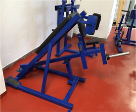 Commercial gym equipment plate loaded incline row