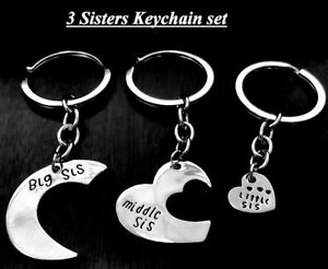 Sisters 3 keychains Big Middle & Little Sis Pendant Bright  new