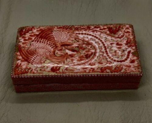 RARE Antique Qianlong Period Mark Hand Painted Porcelain Phoenix Box With Cover
