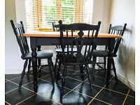 Shabby Chic Industrial style Black Dining Table and 4 Chairs